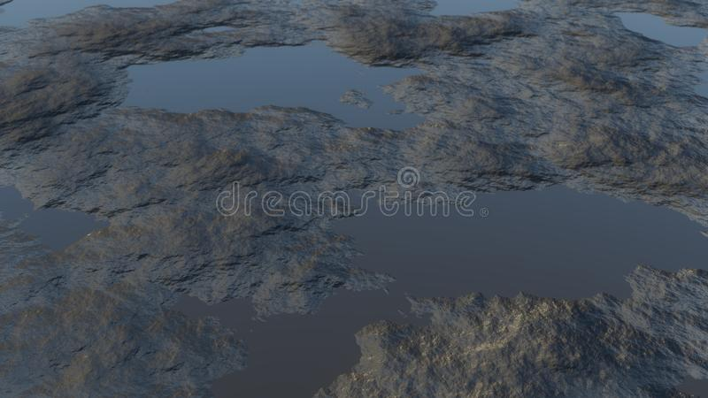 Mud and water. 3D illustration. Dark background vector illustration