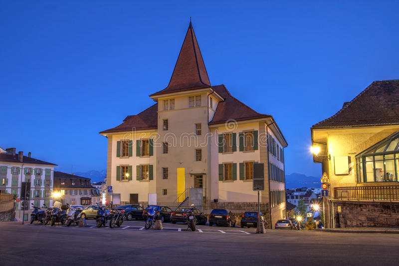 Download mudac lausanne switzerland stock photo image of geneva night 41386090