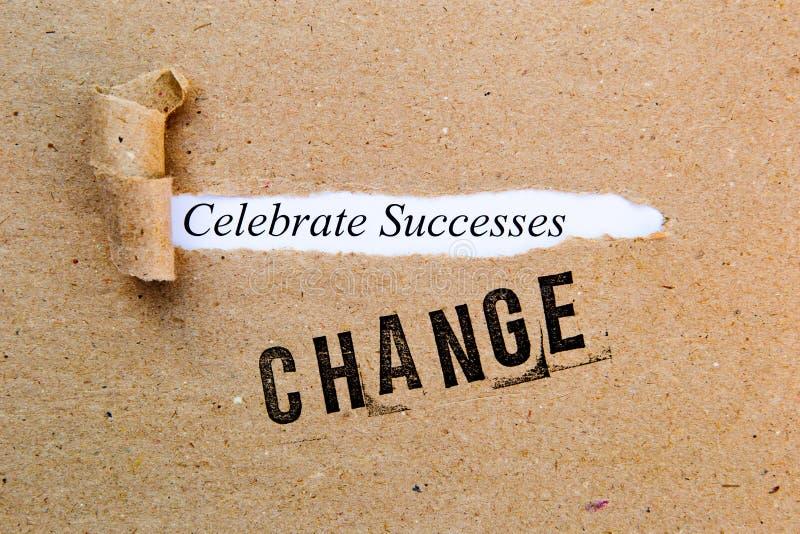 Mudança - comemore sucessos - estratégias bem sucedidas para a mudança foto de stock