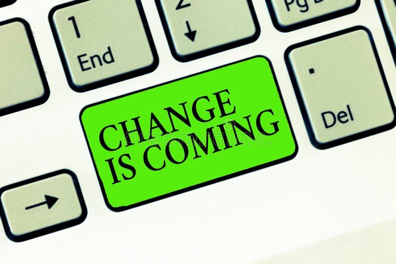 A mudança da escrita do texto da escrita está vindo Significado do conceito que diz a alguém esse futuro que vai ser diferente fotos de stock