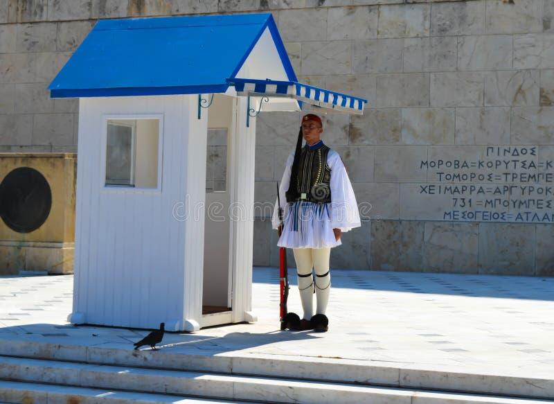 Mudança da infantaria cerimonial Evzones da elite perto do parlamento em Atenas, Grécia o 23 de junho de 2017 foto de stock royalty free