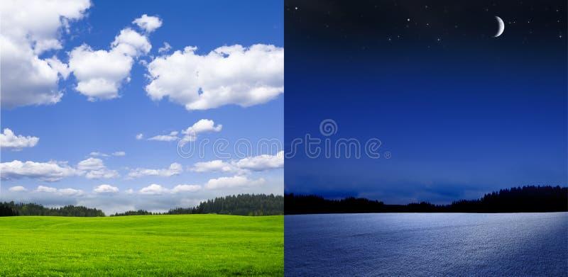 Mudança do inverno do verão na paisagem fotos de stock royalty free