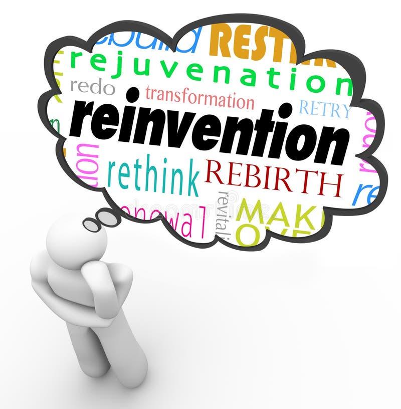 Mudança do planeamento do pensador da nuvem do pensamento da palavra da reinvenção ilustração royalty free