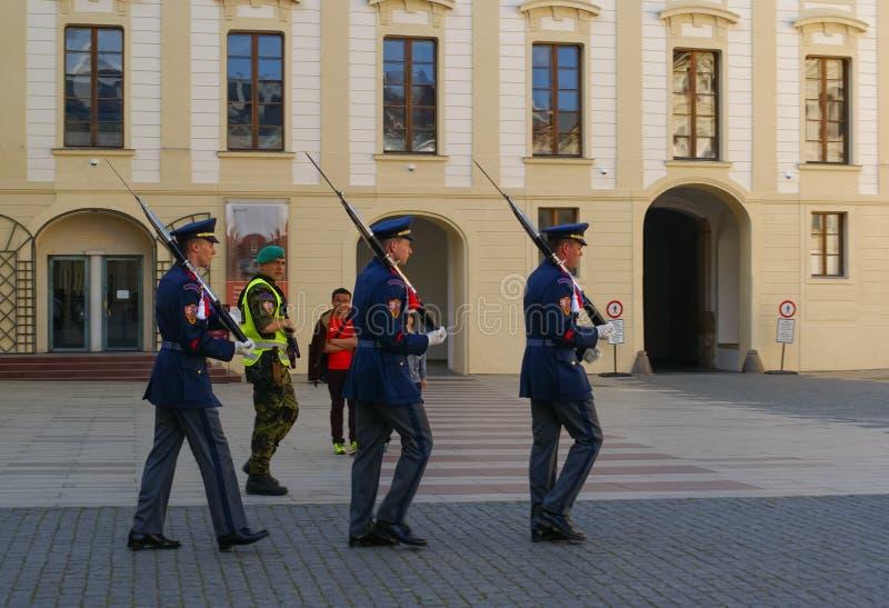 Mudança do protetor no castelo de Praga imagens de stock royalty free