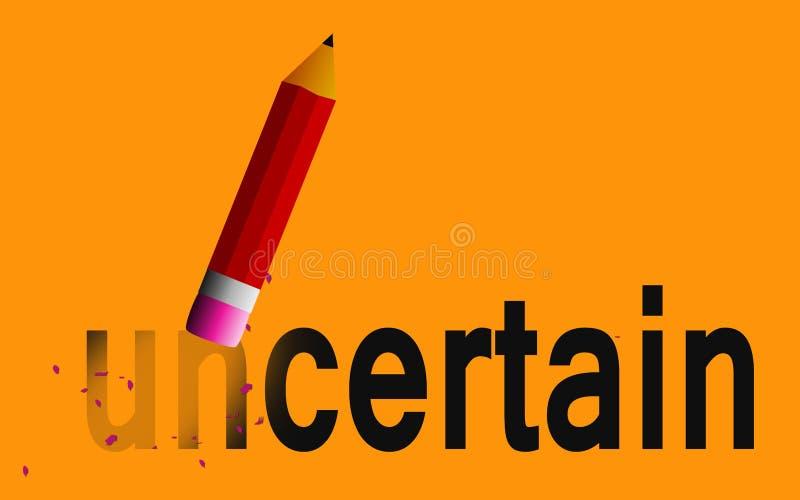 Mudança incerta a certo com eliminador de lápis ilustração royalty free