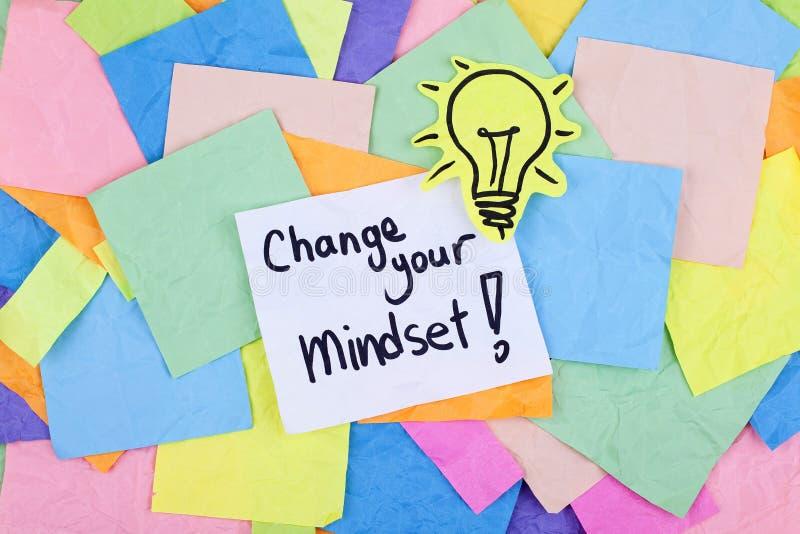 Mudança inspirador inspirada da nota da frase do negócio seu Mindset imagens de stock
