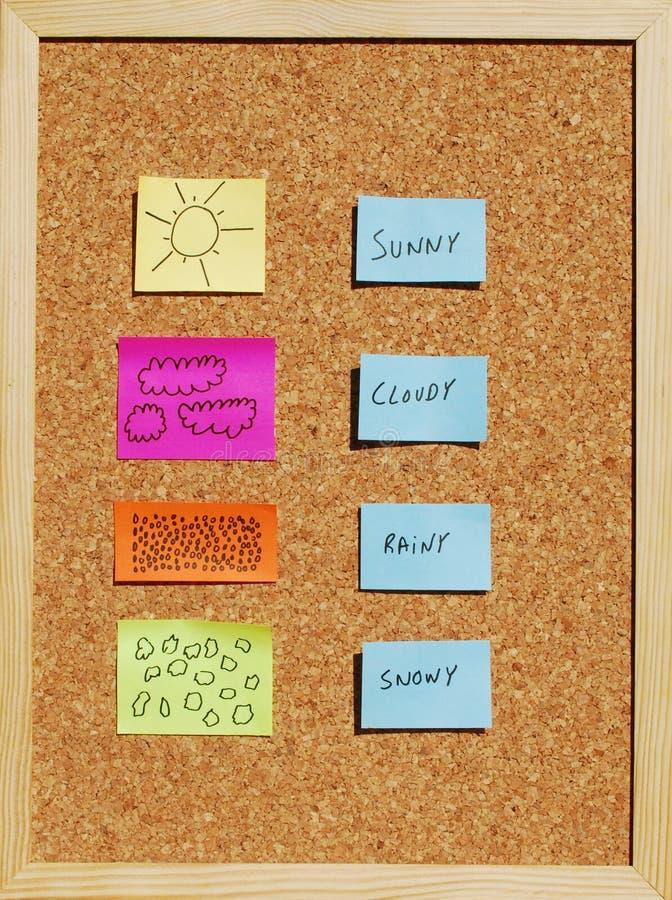 Download Mudanças Do Tempo Em Uma Placa Da Cortiça Foto de Stock - Imagem de borne, amarelo: 10057272