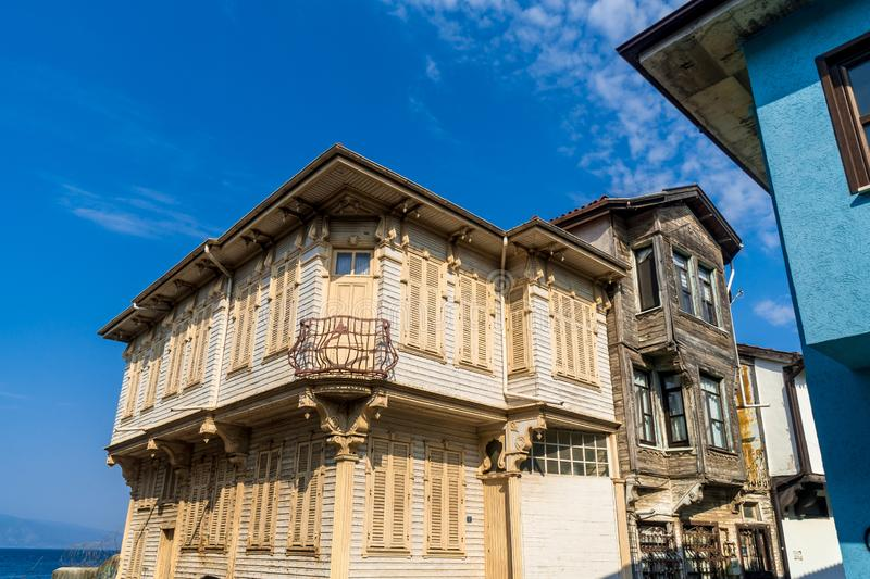 Historical Buildings Mudanya Bursa in Turkey. Mudanya is Greek historical village with colorful architecture houses in Bursa, Turkey royalty free stock images
