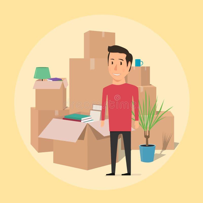 Mudanza con las cajas Cosas en caja Hombre feliz stock de ilustración