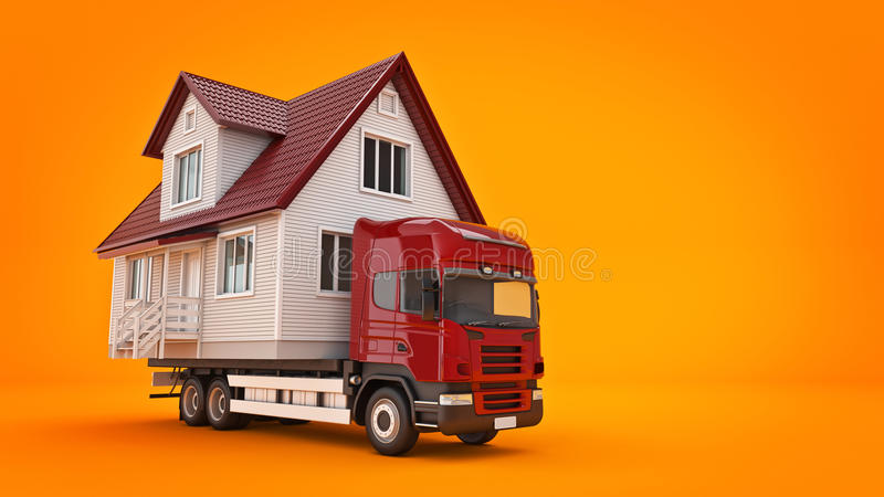 Mudanza de una casa con un camión libre illustration