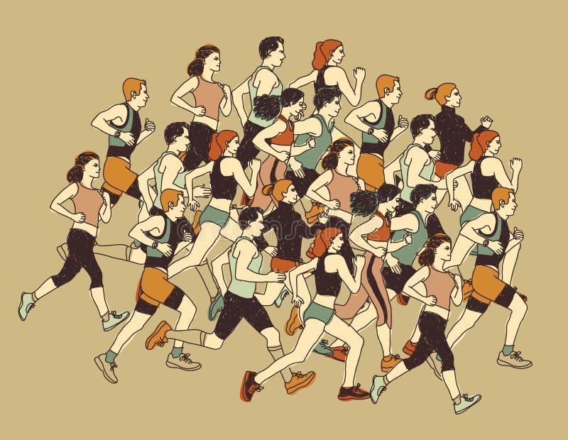 Mudanza del deporte de la gente del grupo corrida junta ilustración del vector