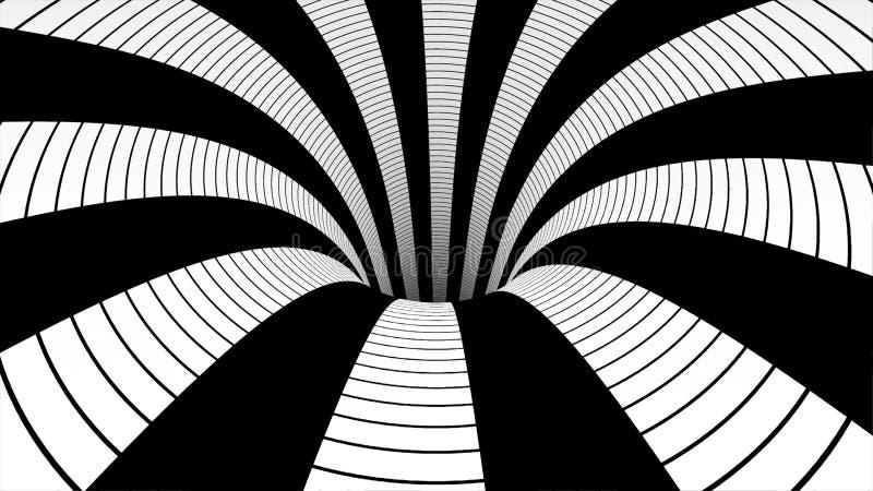 Mudanza dentro del túnel bucle Animación abstracta del movimiento en un túnel blanco y negro stock de ilustración