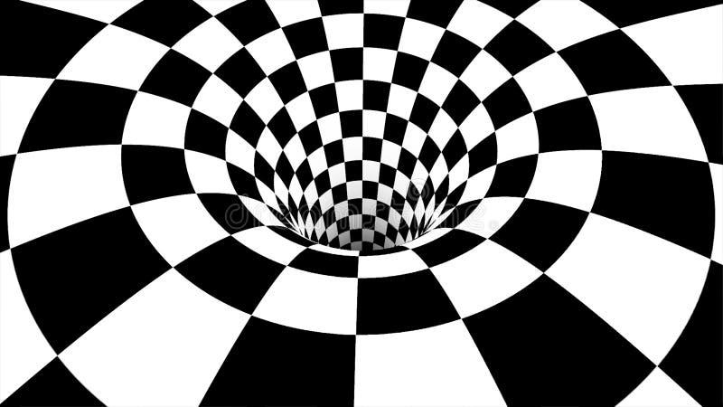 Mudanza dentro del túnel bucle Animación abstracta del movimiento en un túnel blanco y negro ilustración del vector