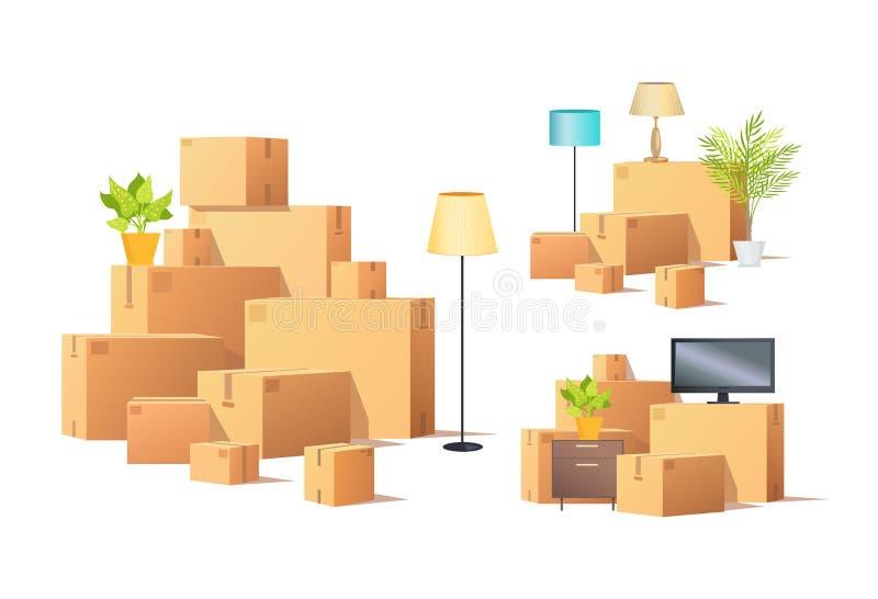 Mudanza en o fuera de vector de las cajas y de los muebles del cartón stock de ilustración