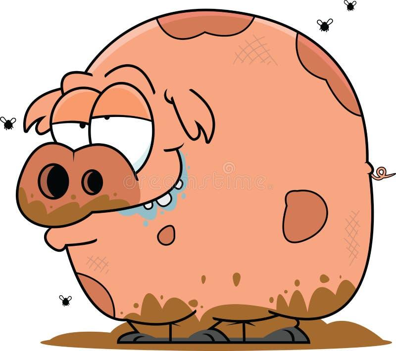Muddy Cartoon Pig stock illustration