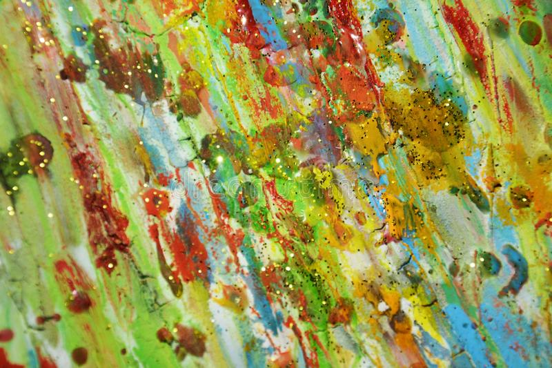 Muddy golden waxy green blue red paint abstract background royalty free stock photo
