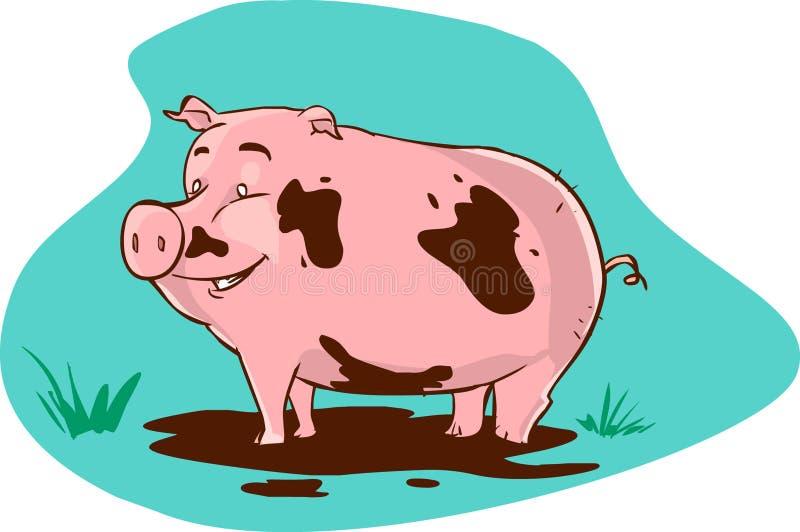 Muddy pig royalty free illustration