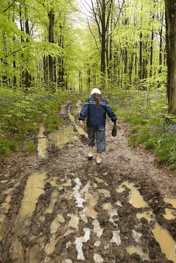 Muddy spring walk royalty free stock images