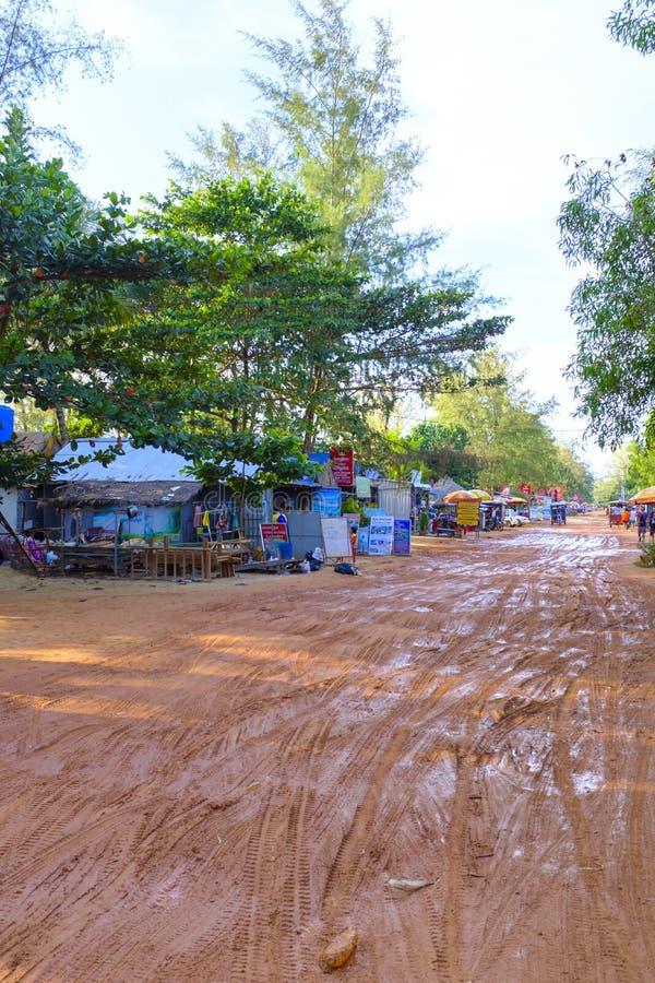 Muddy streets of Sihanoukville, Cambodia royalty free stock image