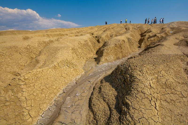 The muddy volcano in Buzau county Romania - Paclele mici stock photography