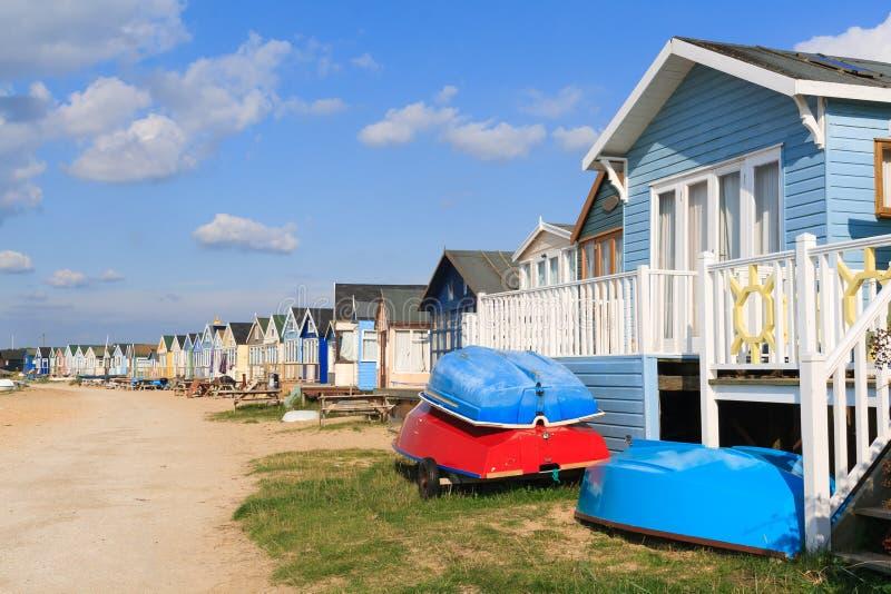 Mudeford海滩小屋 免版税库存图片