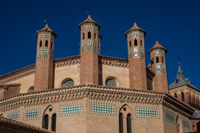 Mudejar艺术在特鲁埃尔省 圣佩德罗火山教会,西班牙遗产地标 免版税图库摄影
