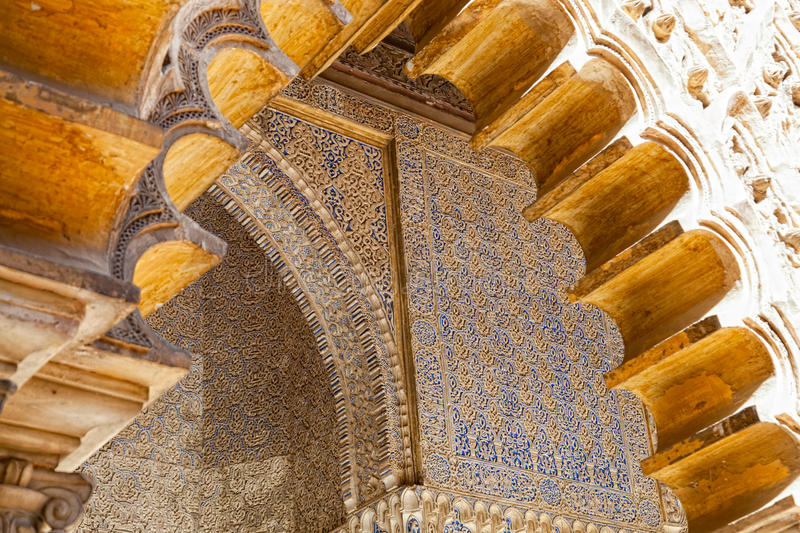 Mudejar decorations in the Patio de las Doncellas. From Peter the first Palace in the Royal Alcazars of Seville, Spain stock photo