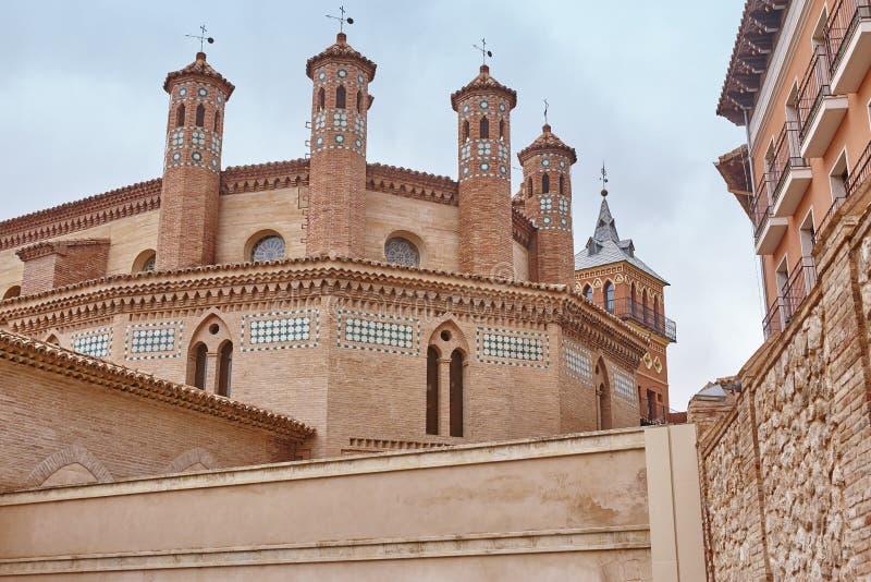 Mudejar kunst in Teruel De apsis van San Pedro De erfenis van Spanje stock afbeelding