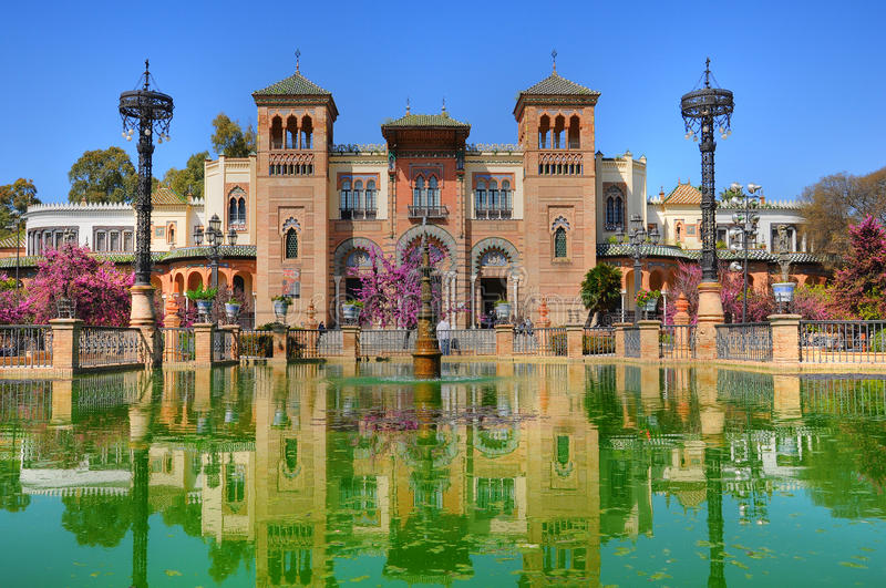 Mudejar pavilion, Seville. Mudejar Pavilion located in the Maria Luisa park in Seville, Andalucia, Spain royalty free stock photography