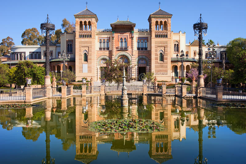 Mudejar Pavilion in Seville. Museum of Arts and Traditions of Sevilla in Mudejar pavilion, Maria Luisa Park, Seville, Spain stock photos