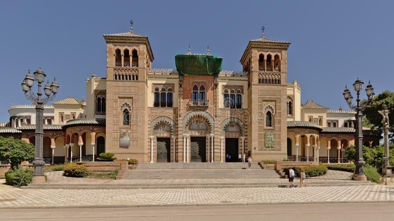 Mudejar pawilon, muzeum sztuki i Popularni zwyczaje Seville, zdjęcie stock