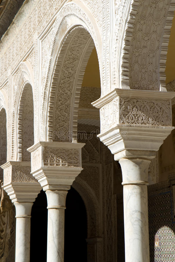 Mudejar style columns - Casa de Pilatos. Seville, Andalusia, Spain stock images