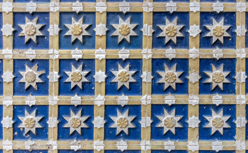 Mudejar tilework. Detail of tilework in Spanish mudejar style royalty free stock images
