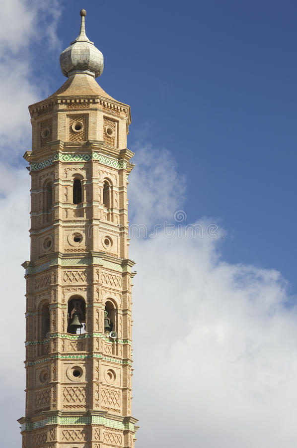 Mudejar tower. In Muniesa, Teruel, Aragon, Spain royalty free stock images
