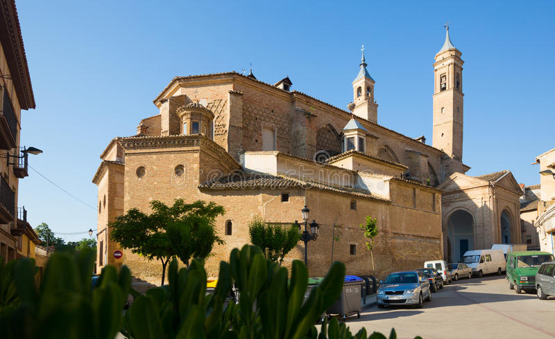 Mudejar towers of the Collegiate of Santa Maria. Borja. BORJA, SPAIN - JUNE 26, 2015: The Mudejar towers of the Collegiate of Santa Maria. Borja, Zaragoza royalty free stock photo