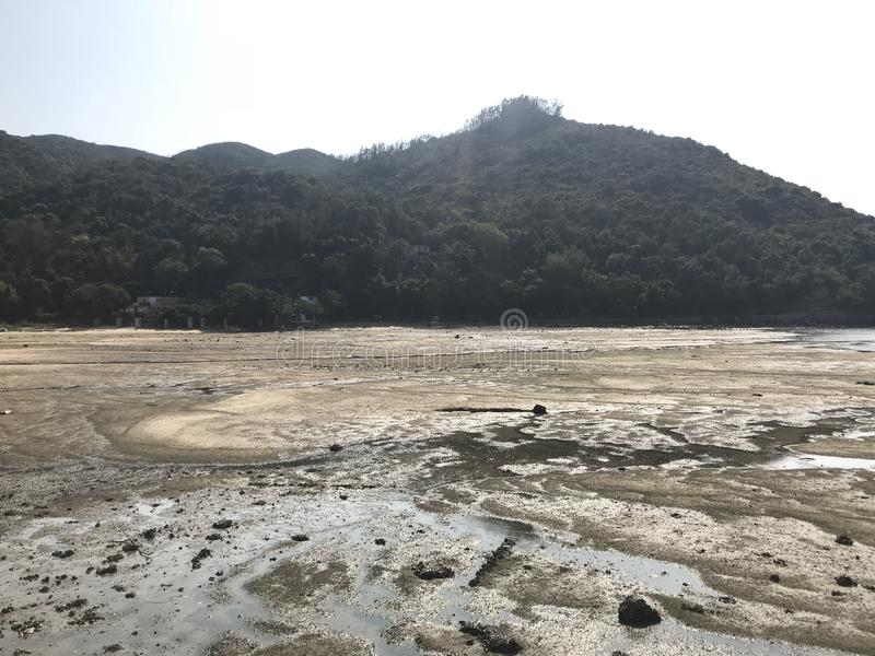 Mudflat on Sok Kwu Wan. Lamma Island royalty free stock photos