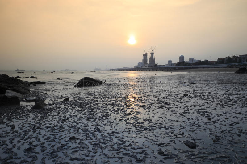 Mudflats no por do sol fotografia de stock