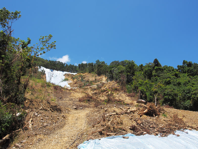 Mudflows och jordskred arkivbild