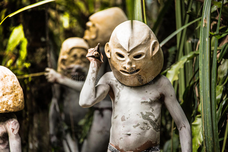 Mudmen of Papua New Guinea royalty free stock image