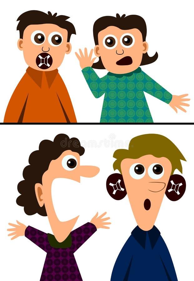 Mudo y sordo stock de ilustración