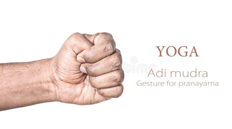 Mudra du yoga l'ADI photo stock