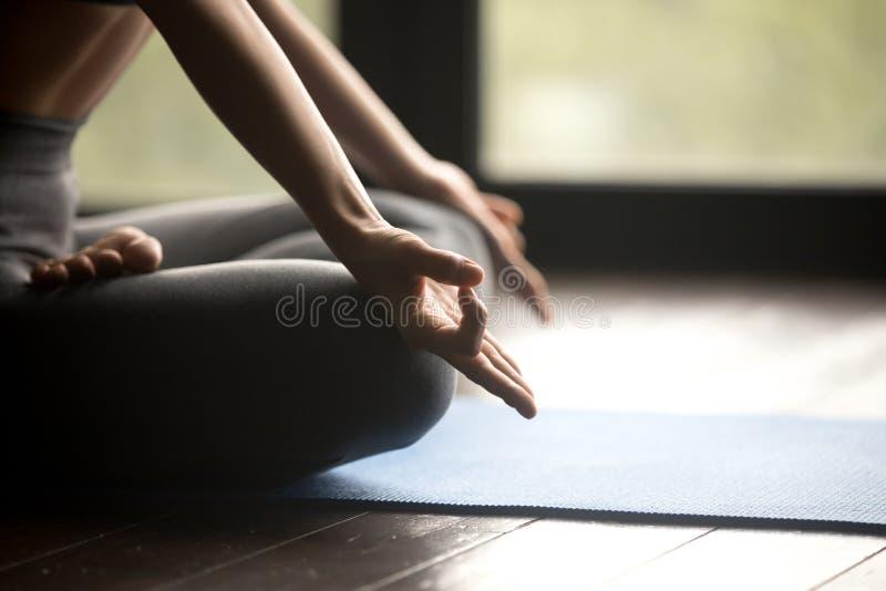 Mudra gesta zakończenie up, sporty kobiety ćwiczy joga zdjęcie royalty free