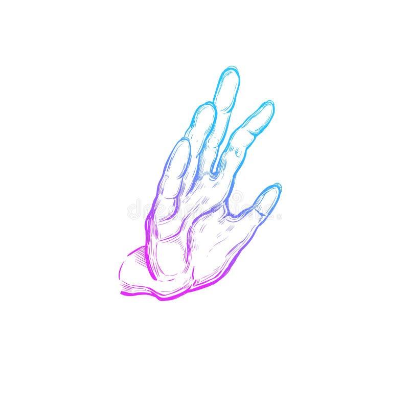 Mudra indien spirituality l'Inde yoga Affiche tirée par la main de vecteur, calibre, copie illustration de vecteur