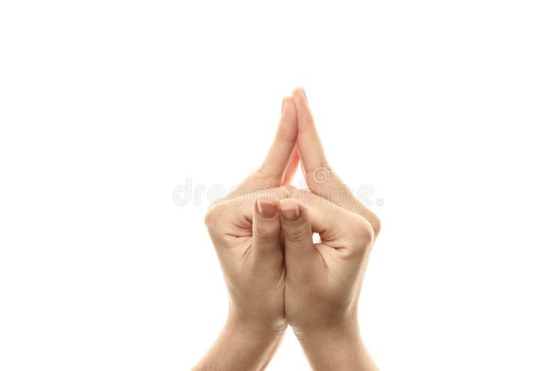 Mudrahoed Shakyamuni, yoga voor de vingers, een ritueel gebaar in Boeddhisme Ge?soleerdj op witte achtergrond royalty-vrije stock foto's