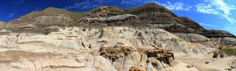 Mudrock stratificato e menagrami in calanchi lungo il fiume dei cervi nobili, Coulee orientale vicino a Drumheller, Alberta, pano immagine stock