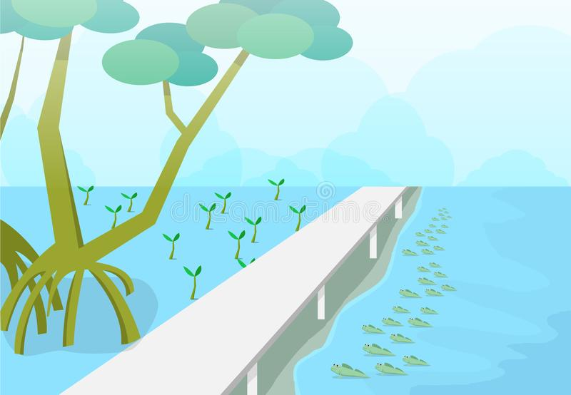 Mudskipper в лесе мангров, искусстве вектора природы бесплатная иллюстрация