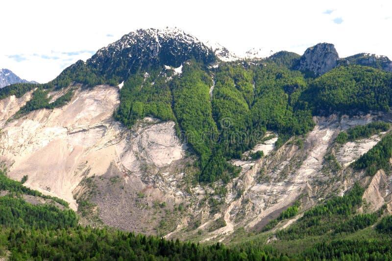Mudslide för Vajont jordskrederosion arkivfoto
