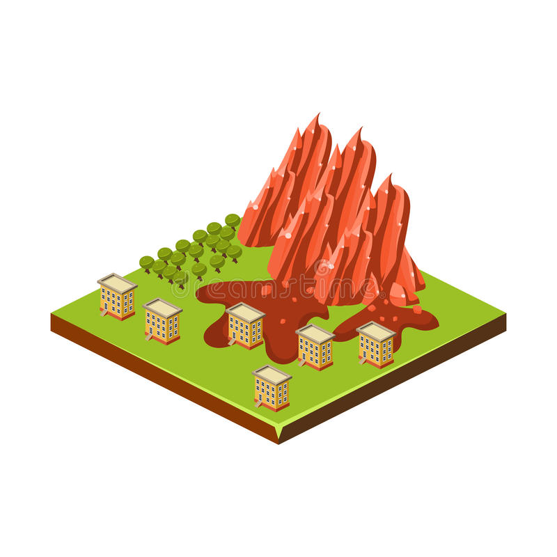 Mudslide. Natural Disaster Icon. Vector Illustration royalty free illustration