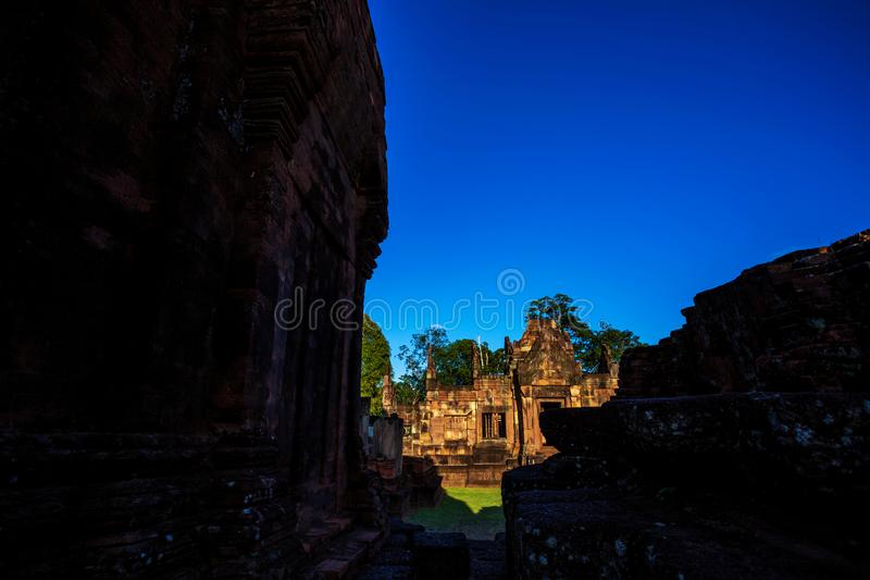 Mueang Tam Stone Sanctuary Prasat Mueang Tam De Historische die Plaatsen en de Monumenten in Buriram-provincie van Thailand worde stock foto