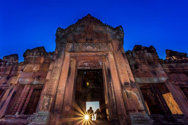 Mueang Tam Stone Sanctuary Prasat Mueang Tam De Historische die Plaatsen en de Monumenten in Buriram-provincie van Thailand worde stock afbeelding